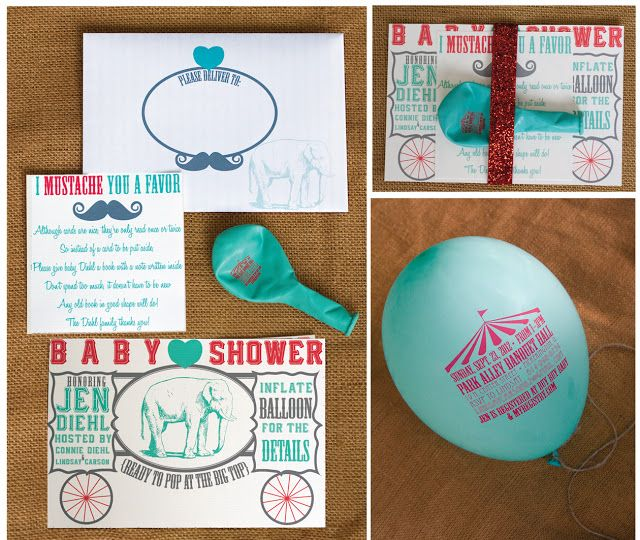 Ritzy Rosebud: {Ready To Pop at The Big Top} Circus-Themed Baby Shower Invites