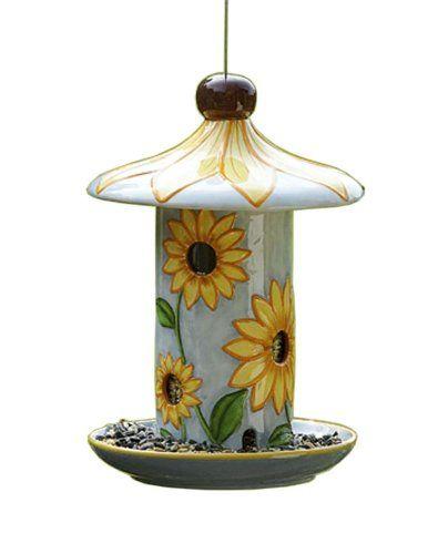 $38.99 ---- Bird Brain Carousel Sunflower Ceramic Bird Feeder Bird ...