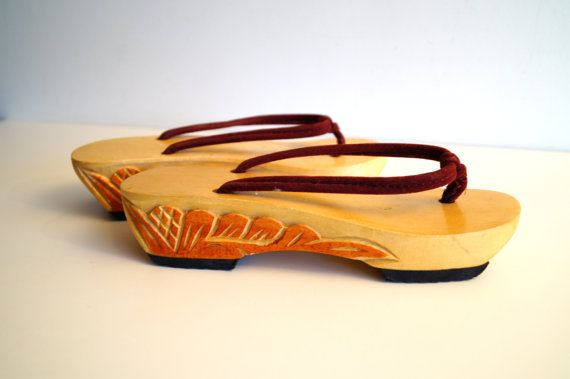 6515a06aae8 Vintage wooden sandals wood clogs Made in Philippines.