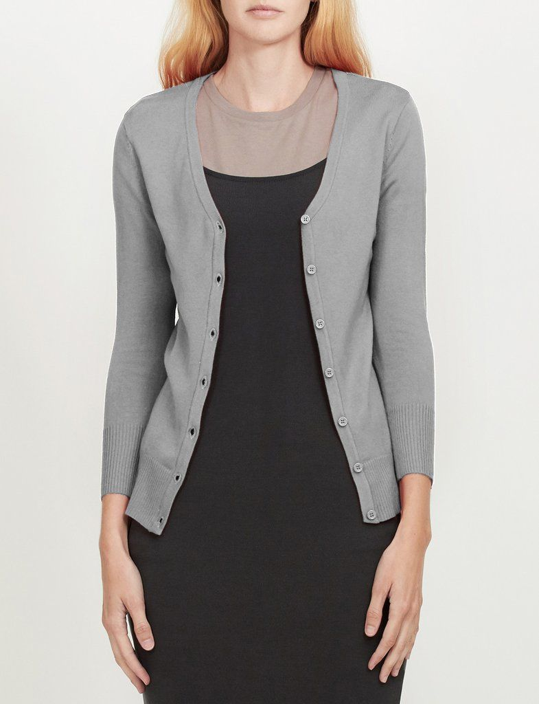 Le3no Womens Fitted 3 4 Sleeve V Neck Fine Knit Cardigan Fine Knit Cardigan Basic Cardigan Cardigan [ 1024 x 785 Pixel ]