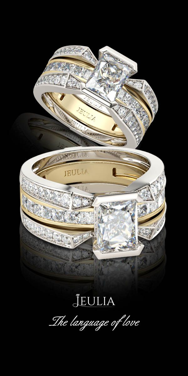 Interchangeable Radiant Cut Sterling Silver Ring Set In