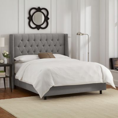 Abbie Wingback Bed Velvet Upholstered Bed Upholstered Panel Bed