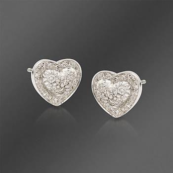 41a00bc3e8b54 Scott Kay .36 ct. t.w. Diamond Heart Earrings in Sterling Silver ...