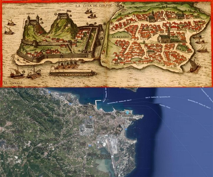 Corfu Greece Map Then and Now httpoldcitiesworld