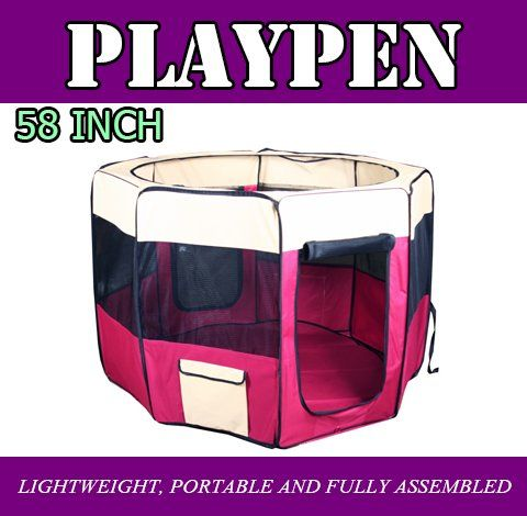 New 58' 2X-Large Dog Pet Cat Playpen Kennel Exercise Pen Crate Fence - Red *** You can get more details here : Dog kennels