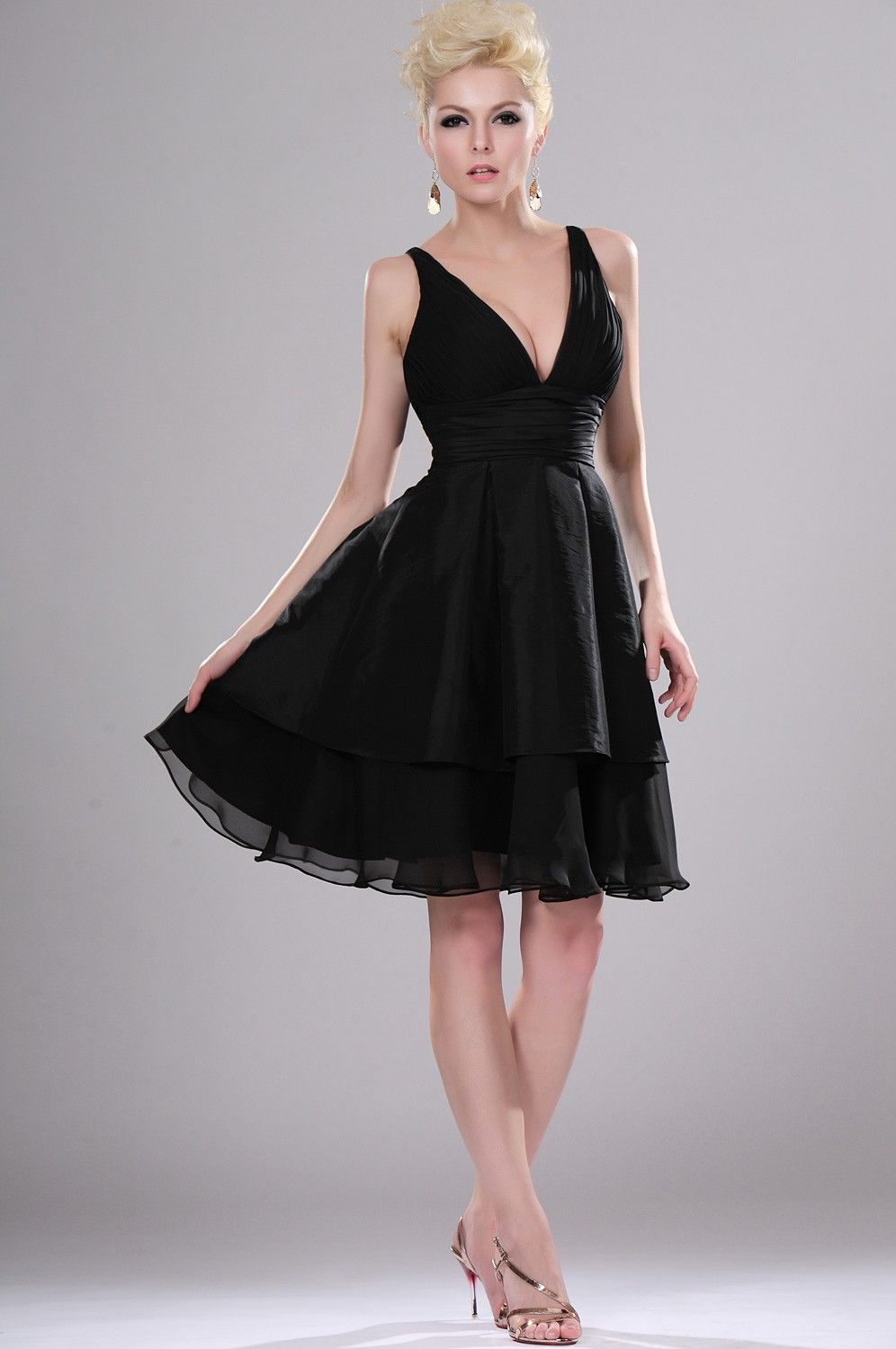 Black V-Neck Chiffon Dress