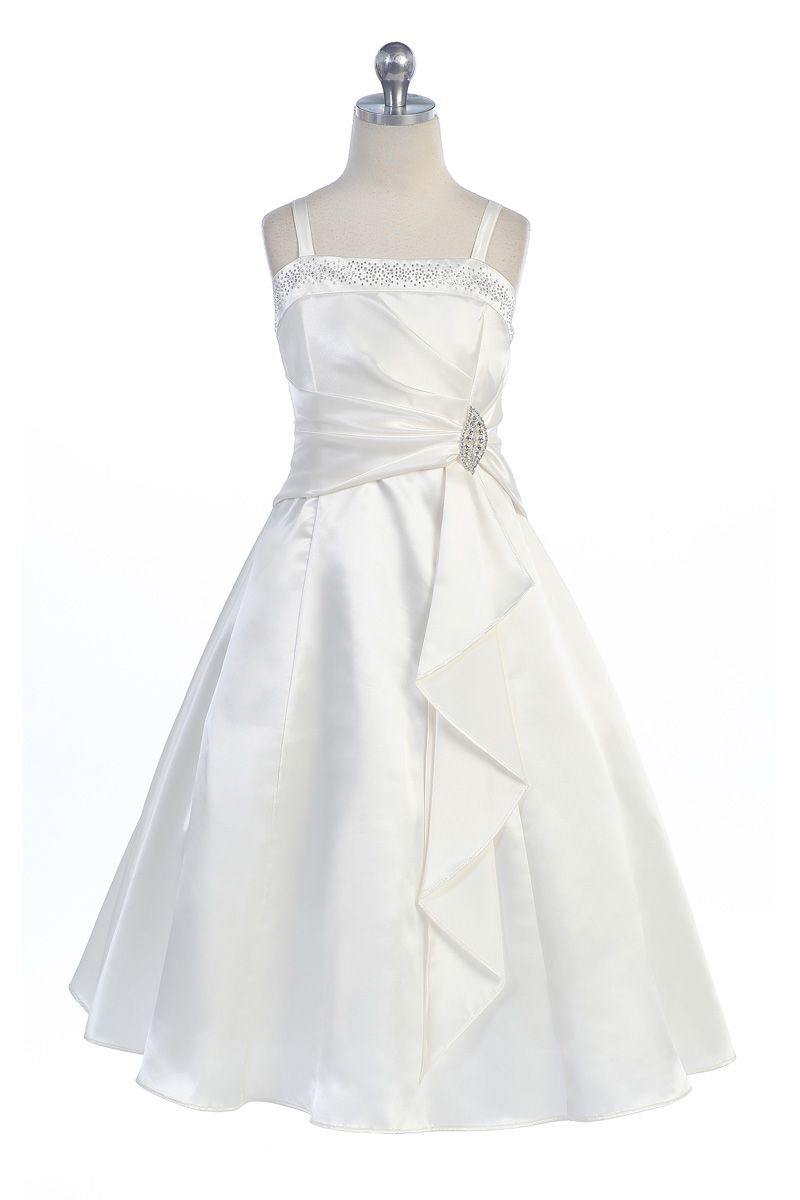d5c7a6c6c27 Ivory Brilliant Satin Ruffle Detail A-line Flower Girl Dress with Sparkles  L4305-IV L4305-IV  59.95 on www.GirlsDressLine.Com