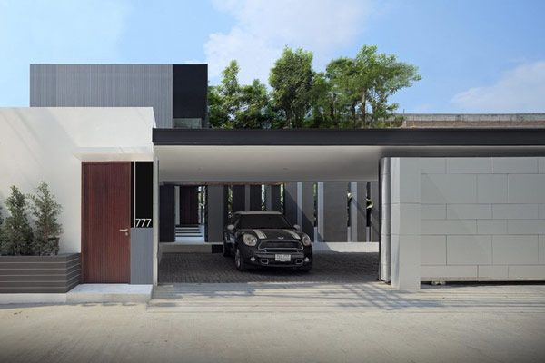 Fancy Garage L Shaped Modern Family Home Flat Roof Www Decorteen