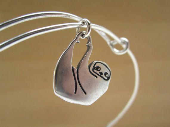 Sloth Bangle Adjule Sterling Silver Bracelet Starter Charm Choose Your