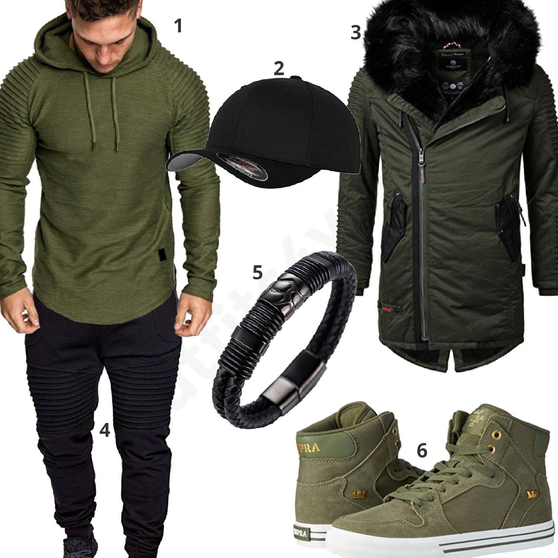 Grün-Schwarzer Streetstyle mit Longsleeve und Parka (m0715)  outfit  style   herrenmode  männermode  fashion  menswear  herren  männer  mode  menstyle  ... d31eb3c118