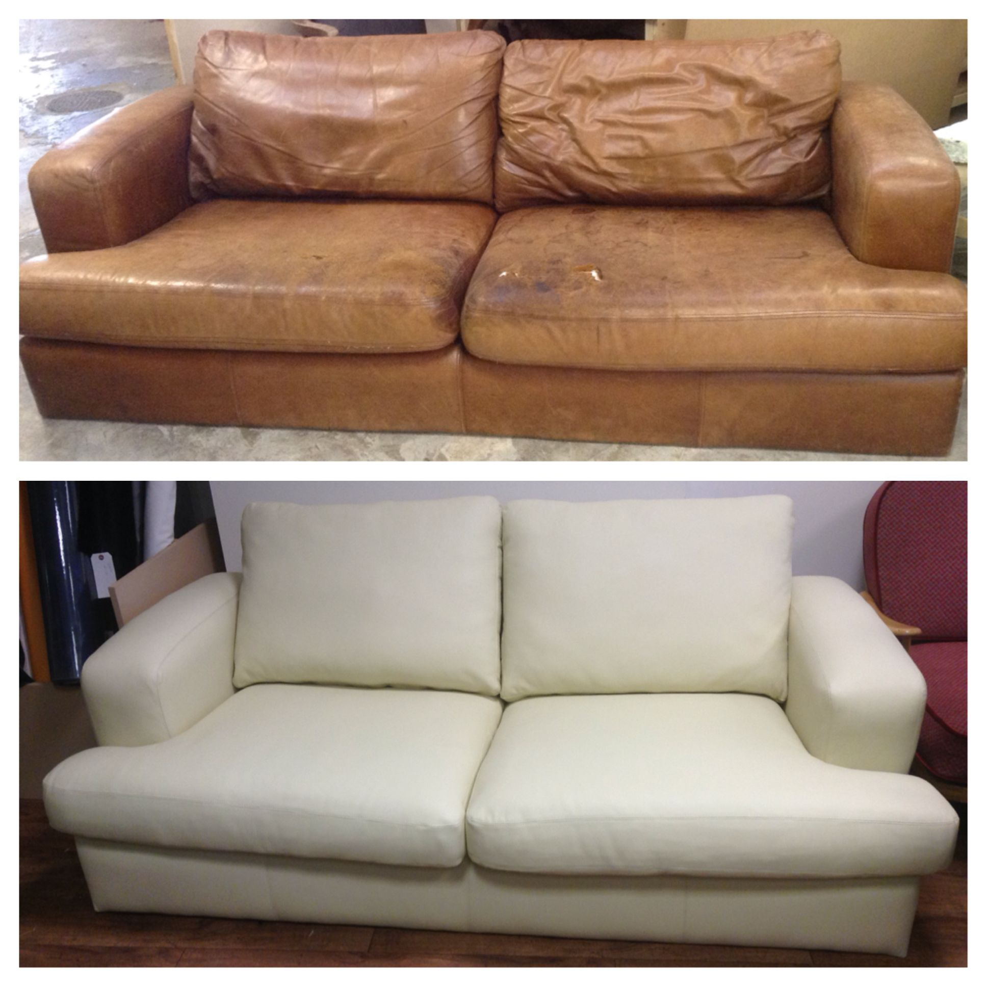 reupholster sofa in leather slim futon bed how to a two seater www