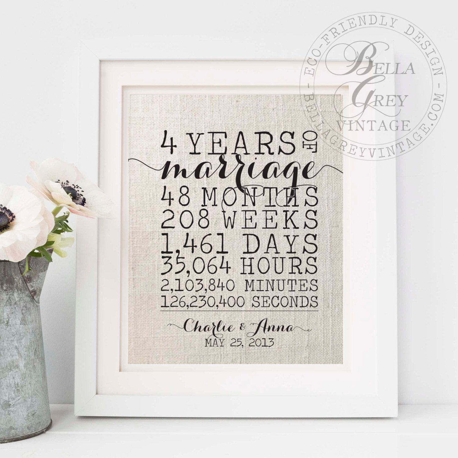 4th anniversary gift to wife personalized gift for her