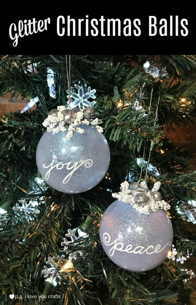 make glitter christmas ball tree ornaments using pledge floor care clear glass christmas balls and the cricut maker - Glass Christmas Balls