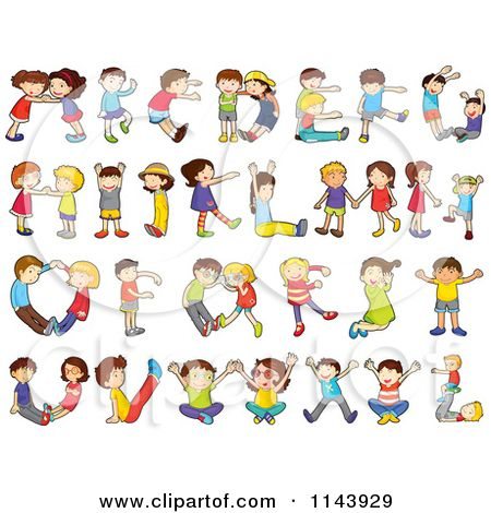 Cartoon Of Children Forming Alphabet Letters  Royalty Free Vector