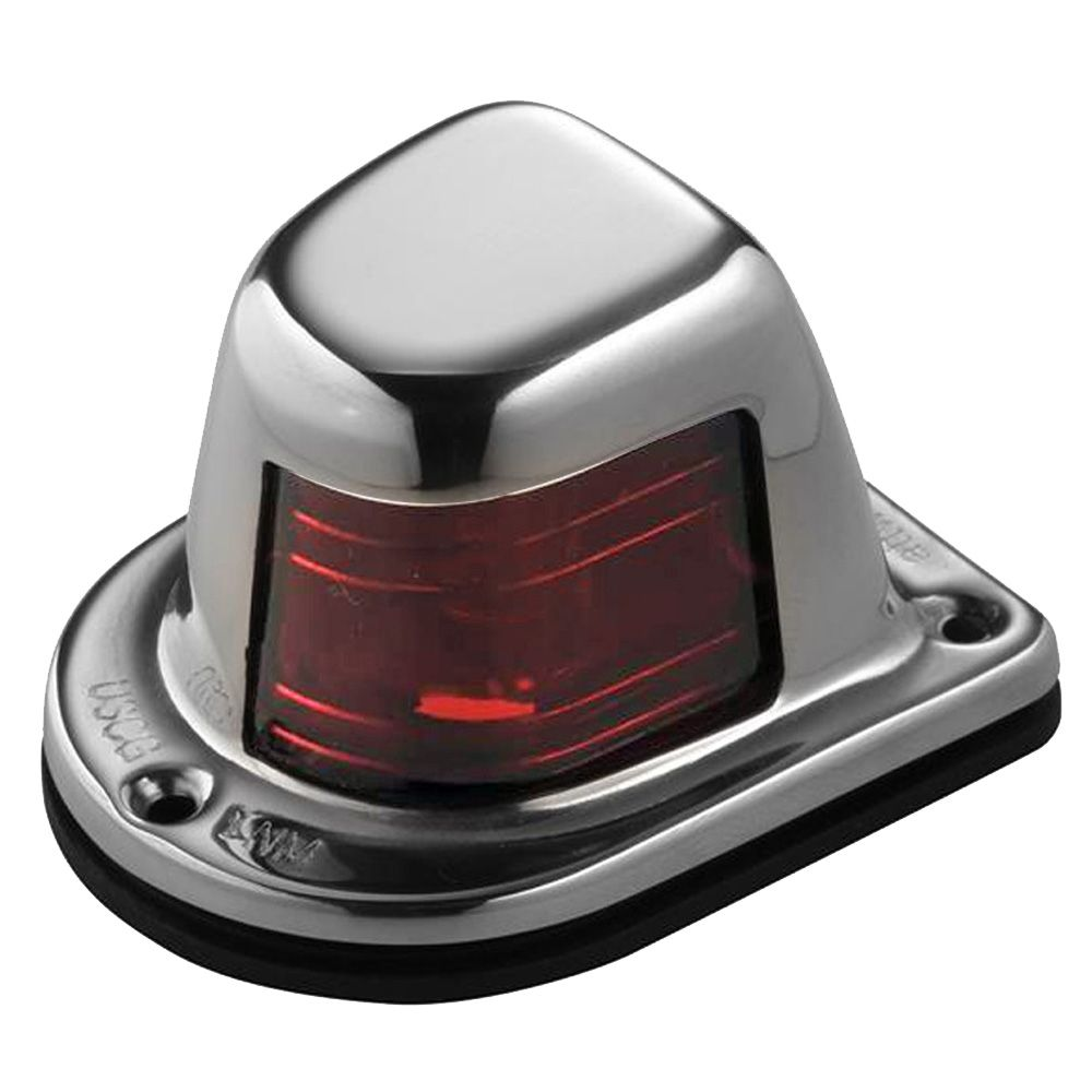 Attwood 1Mile Deck Mount, Red Sidelight 12V Stainless