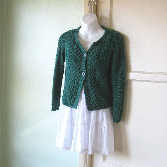 Cable Knit Emerald Green Cropped Cardigan - XS-Small Dark Green ...