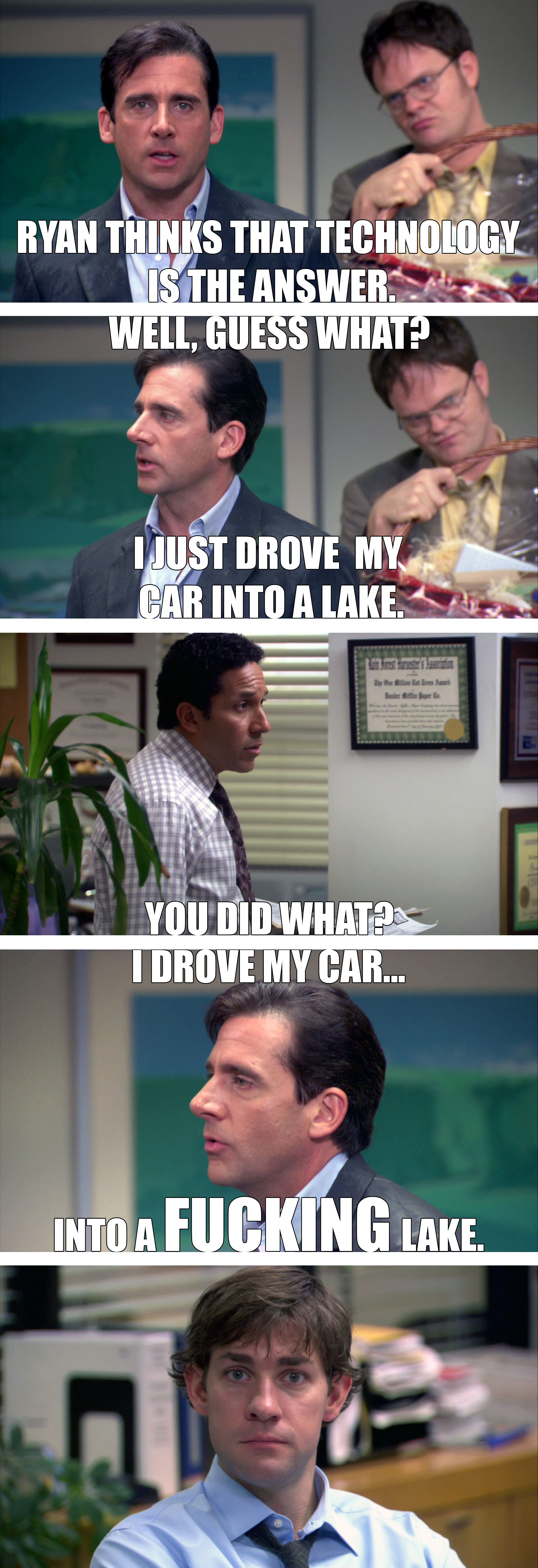 michael scott steve carell drives his car into a lake on the