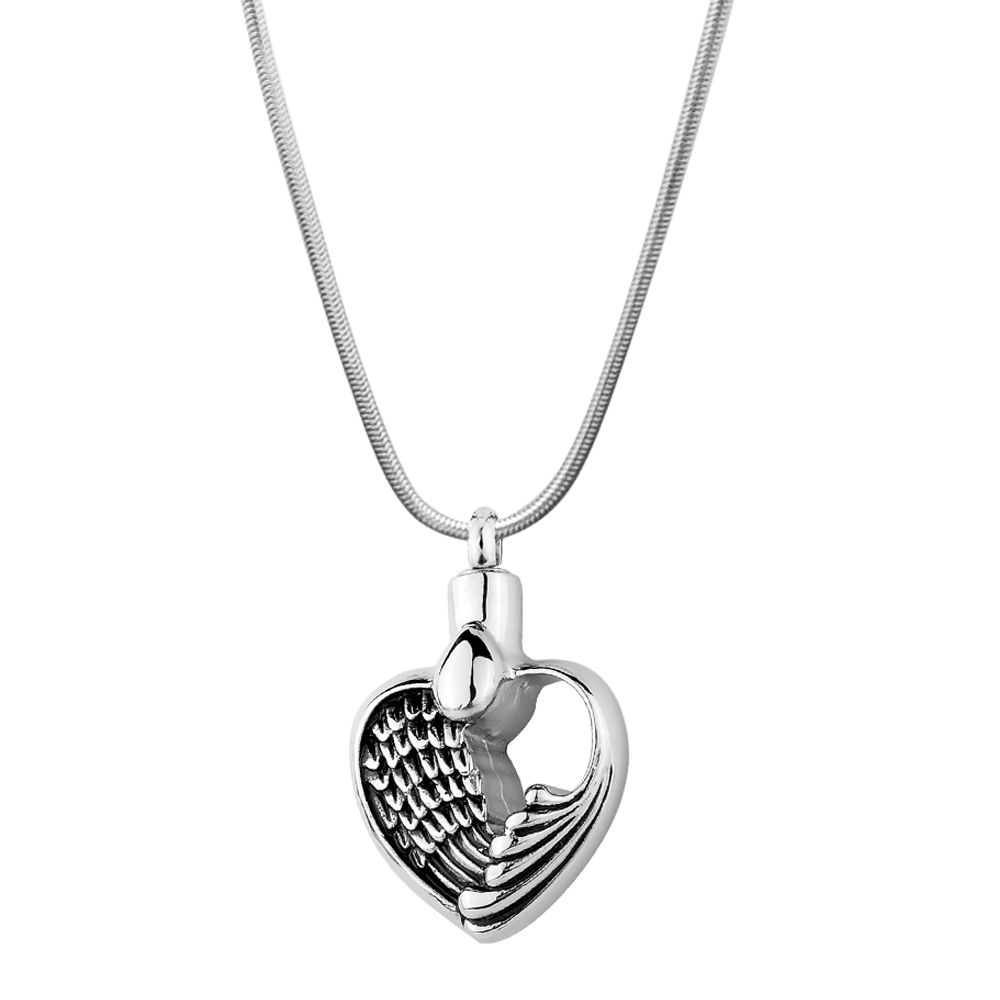 Angel Wing Heart Cremation Jewelry Memorial Necklace ...