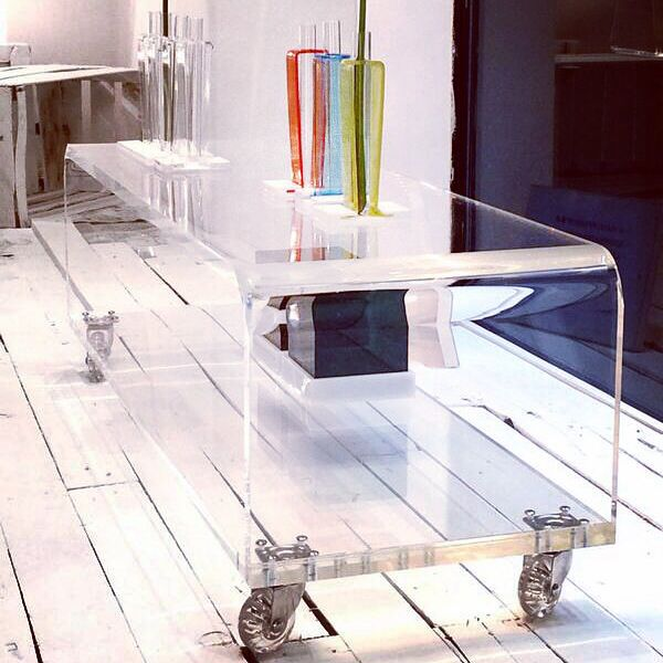 Acrylic Clear Rolling Tv Stand 40x40 With Wheels Lucyte Shelves