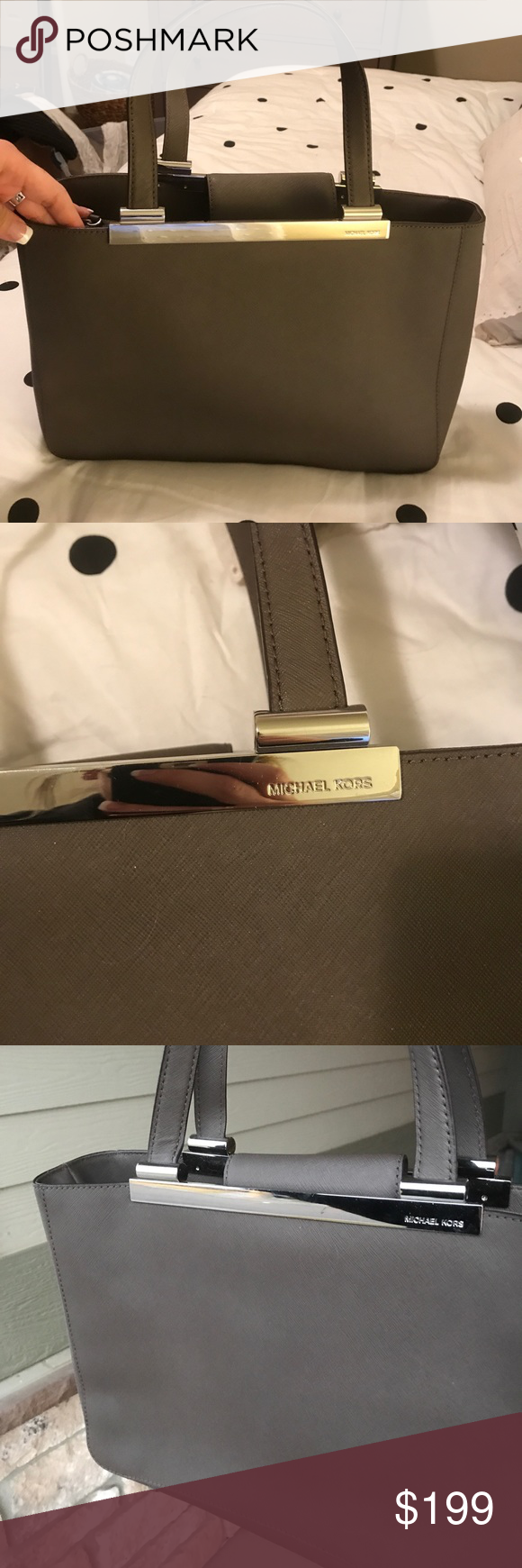 MICHAEL KORS purse😍 Bought this originally for $298. In PERFECT condition. Used MAYBE 3 times. Reason for selling: boyfriend got me another MK purse that's the exact same color. Love this classy color and wonderful for meetings or just your day to day purse. Lots of pockets and has a zipper in the middle. Bags
