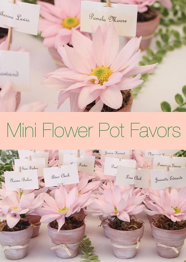 mini flower pot favors | spring escort table | miami party