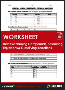 Worksheet Naming Compounds Balancing Equations Types Of