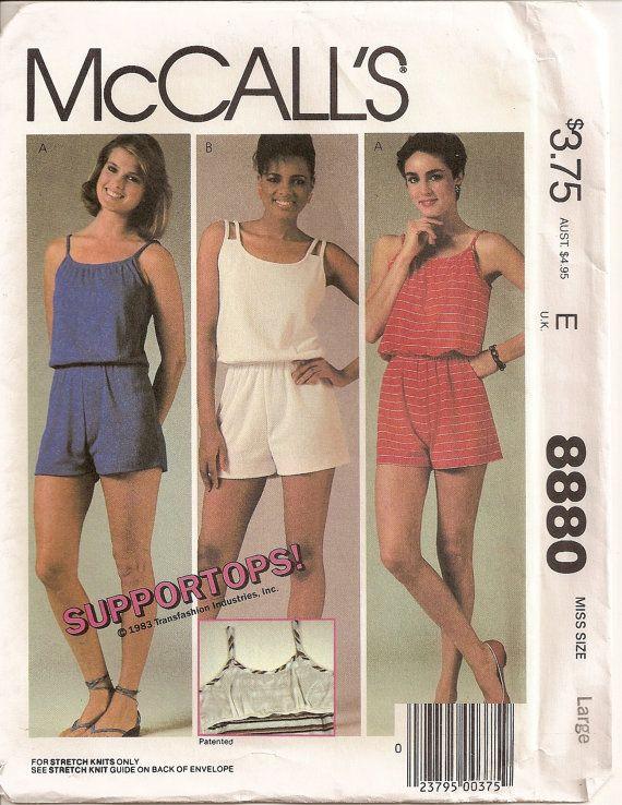 Vintage Romper Sewing Pattern McCalls 8880 Size Large 18 20 Misses ...