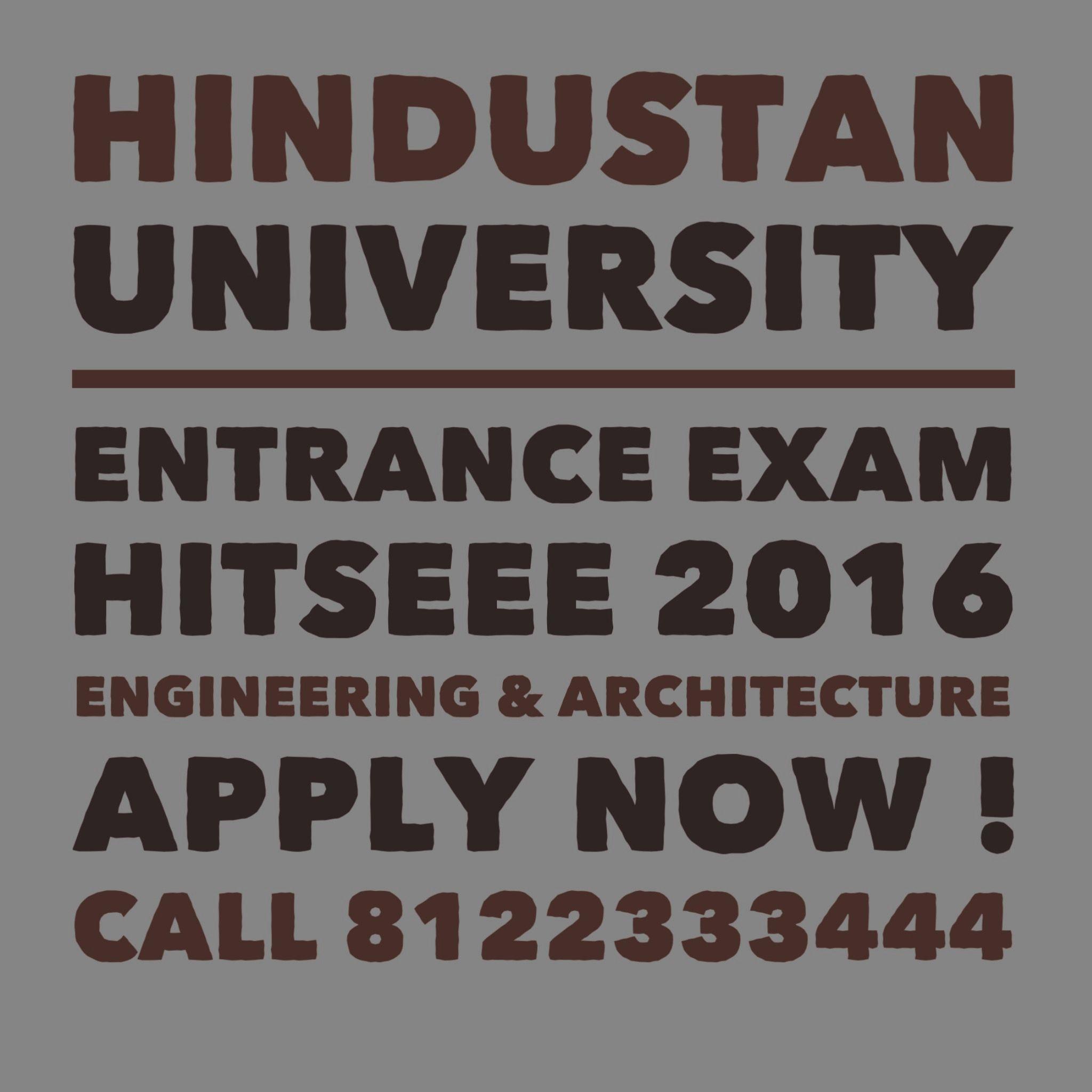 HITSEEE 2016 Hindustan University Engineering Entrance