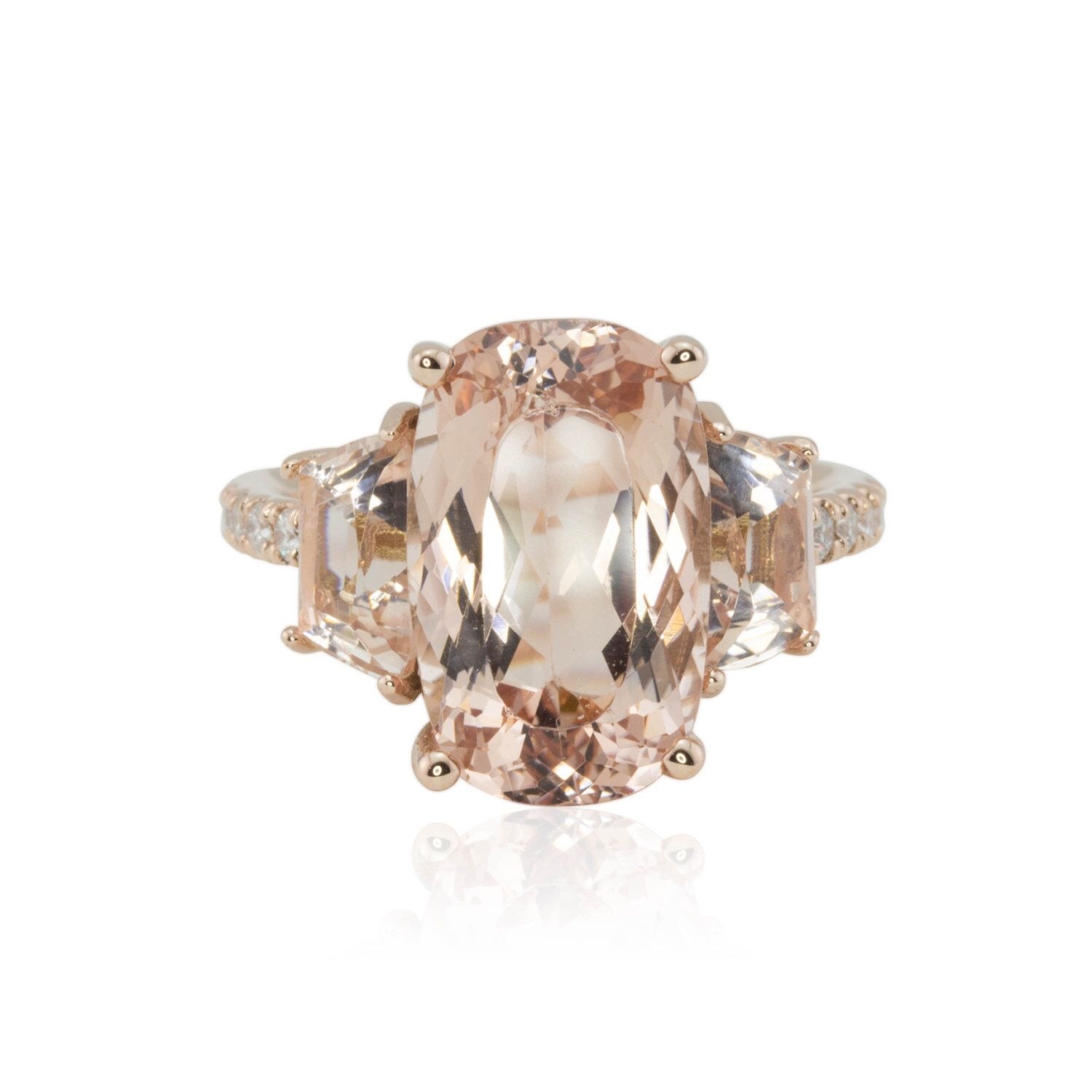 Morganite Ring Hand Cut Three Stone Oval and Trapezoid Peach