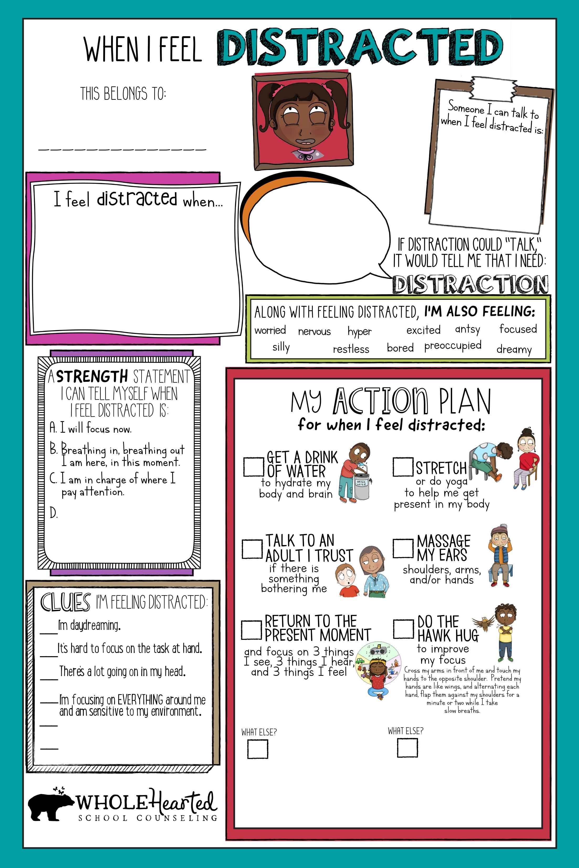 Action Plan Worksheets For 29 Different Feelings Included In Coping Skills Book For School Social Emotional Learning Coping Skills Coping Skills Worksheets