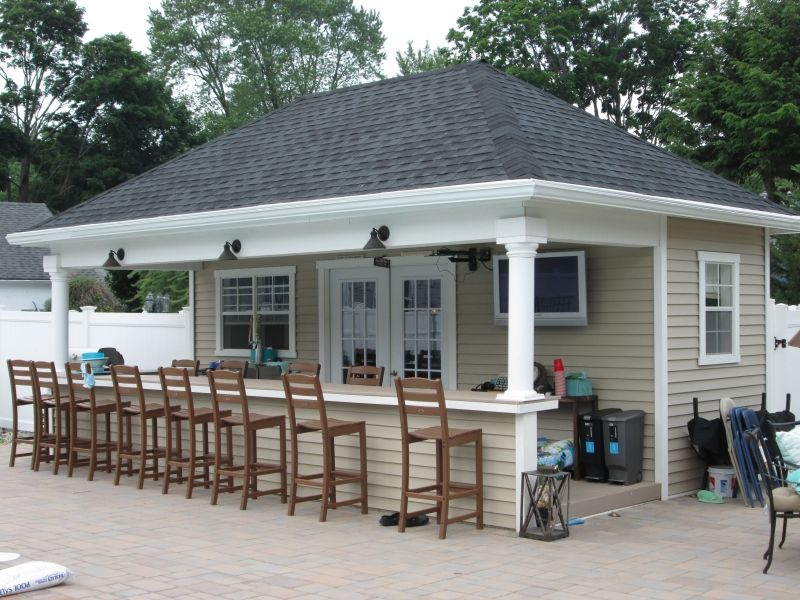 Custom pool houses amish mike amish sheds amish barns for Pool shed with bar plans