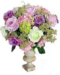 Shabby Cream Cast Iron Urn Lavender Purple Roses & Pink Hydrangea-classic, desinger,floral, arrangement,snowball, ranunculus,garden,garden,silk,centerpiece, botanical,faux,credenza,