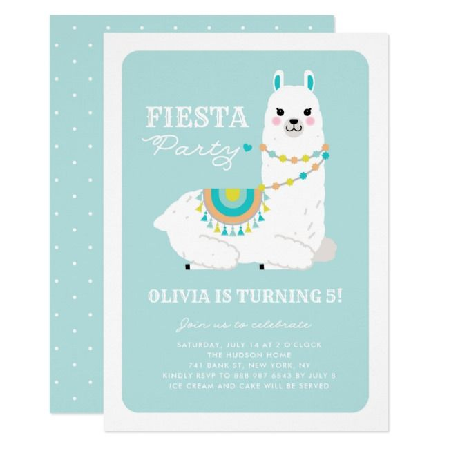 Cute Llama With Pom Poms Blue Fiesta Kids Birthday
