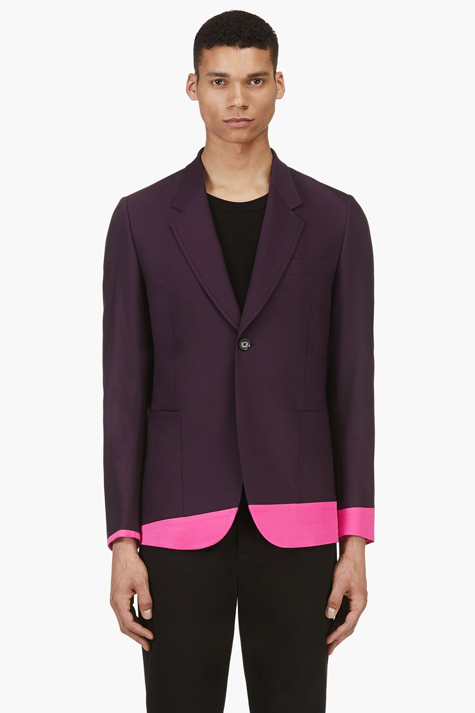 PAUL SMITH  Plum Wool Contrast Hem Blazer