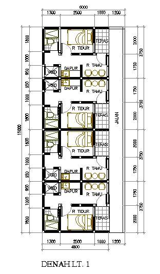 desain rumah petakan di lahan 6 15 m2 eramuslim rumah