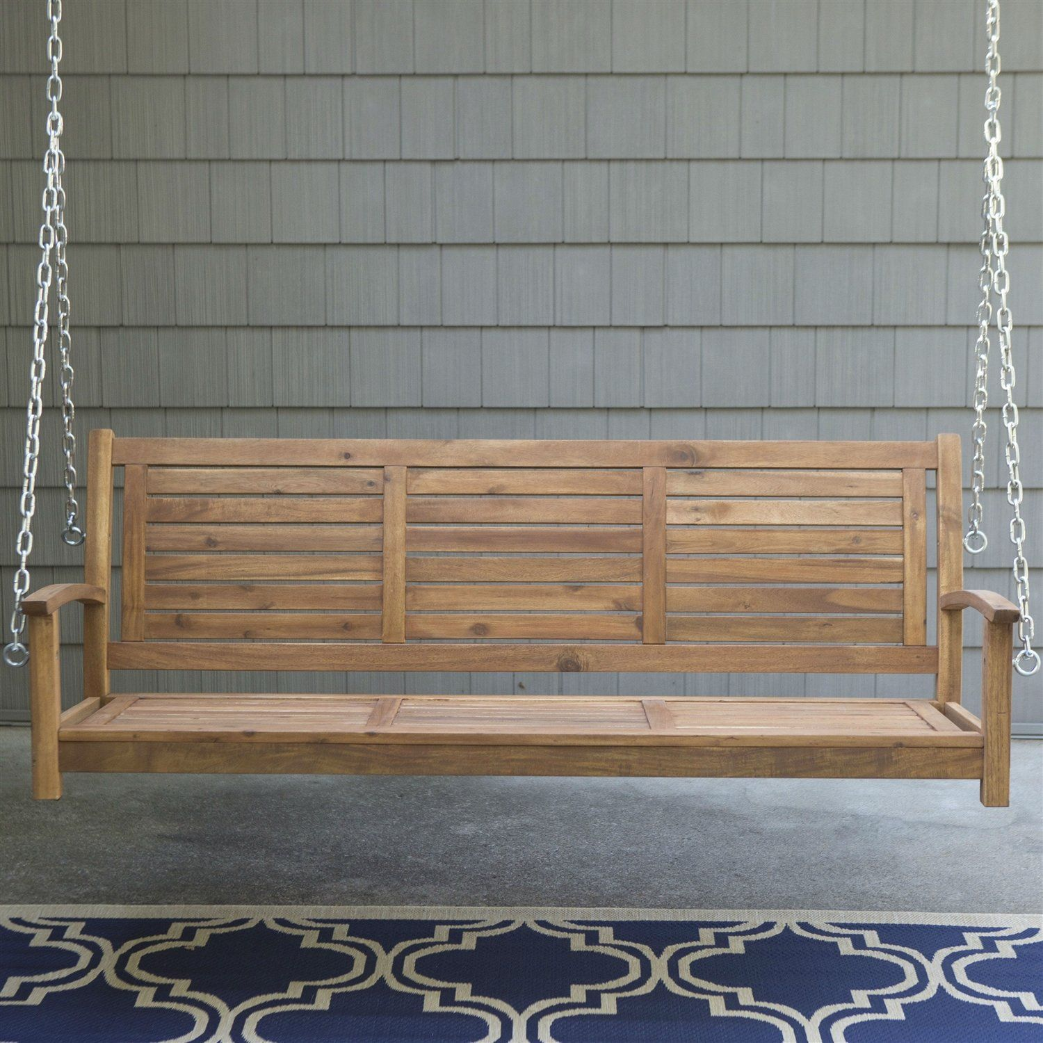 Outdoor ft slatted porch swing in natural acacia wood with hanging
