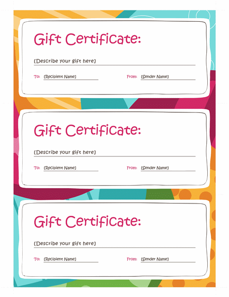 Gift Certificates Bright Design 3 Per Page Templates Office
