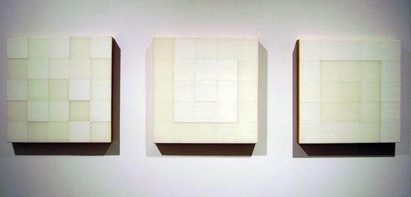 "Sean Mills, Untitled 1 , 2, 3, acrylic on panel, 12.5"" x 12.5"""