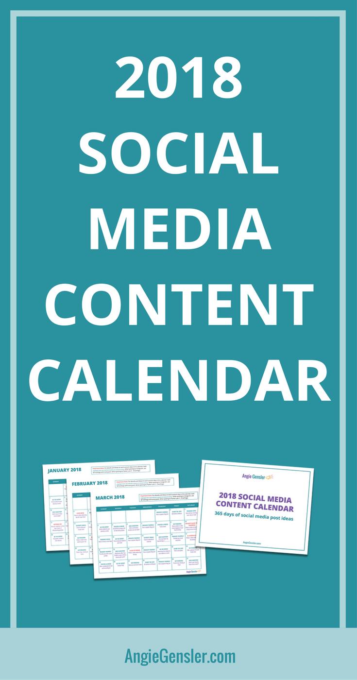 Social Media Content Calendar  Social Media Content Content