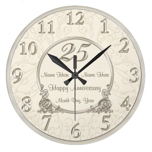 25th Wedding Anniversary Clocks Couples Names Date Zazzle Com Anniversary Clock 25th Wedding Anniversary 25 Wedding Anniversary Gifts