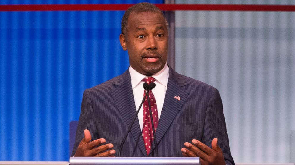PHOTO: Republican presidential hopeful Ben Carson speaks during the first Republican debate at the Quicken Loans Arena, Aug. 6, 2015, in Cleveland.
