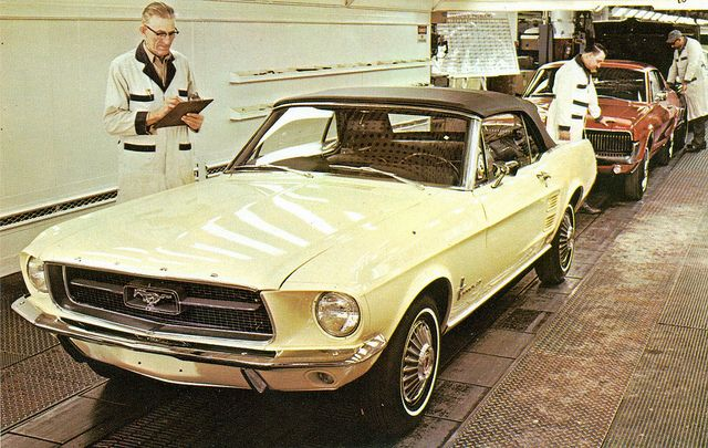 1967 Ford Mustang Convertible and Mercury Cougar Hardtop on assembly line