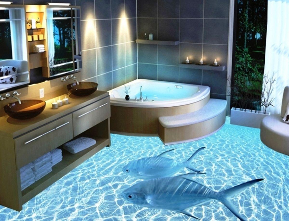 Pavimentazione in 3d delfini che nuotano sott acqua bagno for Costo per aggiungere spazio sul garage