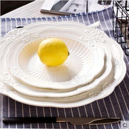 "Gorgeous 10"" or 9"" White Lace Circular Embossed Ceramic Dessert Plates"