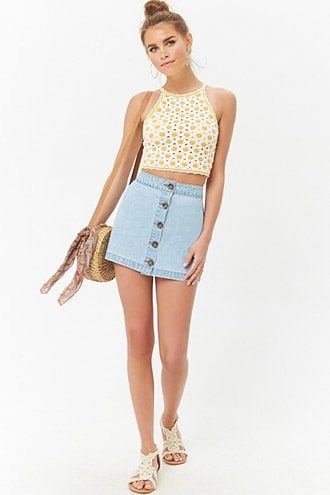 04733752f6a5 Button-Front Denim Mini Skirt | Products | Denim mini skirt, Skirts ...