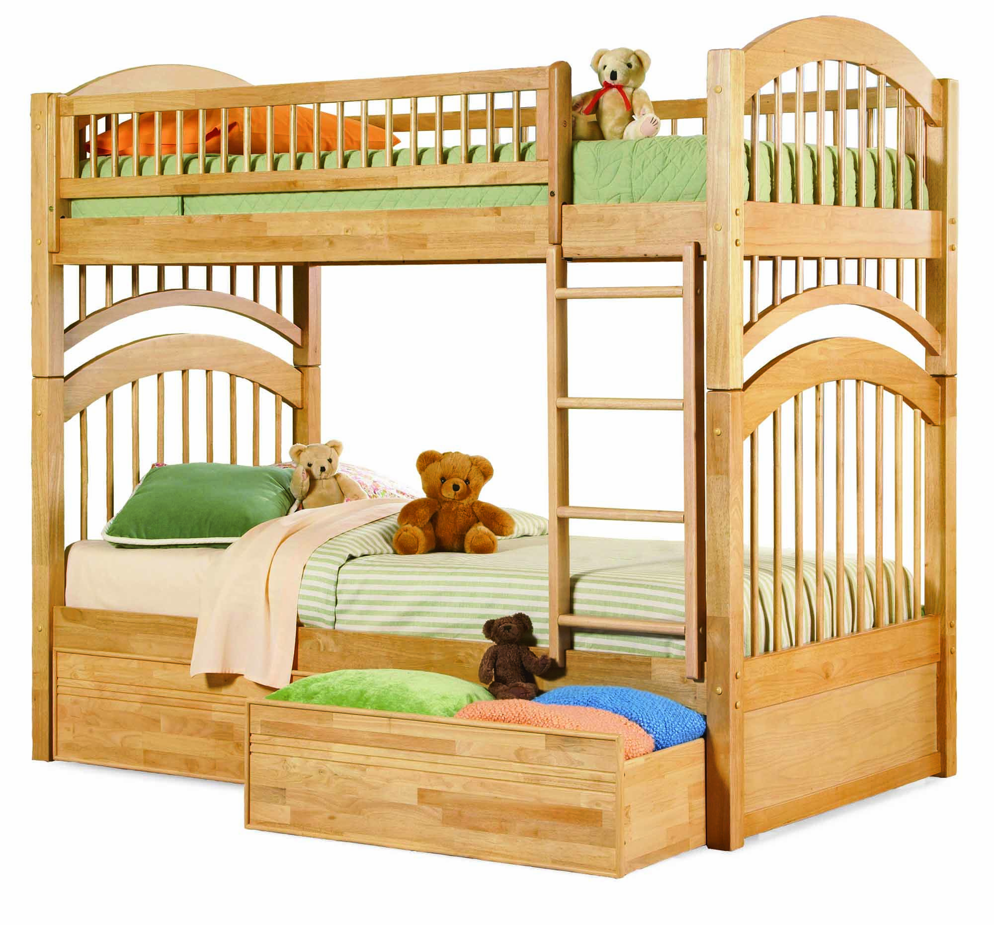 Natural Maple Windsor Bunk Bed Twin/Twin with 2 Flat Panel Bed Drawers