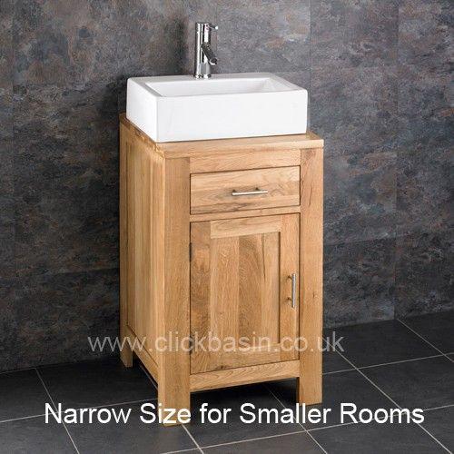 Alta Solid Oak Single Door Narrow Freestanding Cabinet And Basin Range Bathroom Wash Cabinets