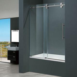 Vigo 60-inch Clear Glass Frameless Tub Sliding Door (Stainless Steel ...