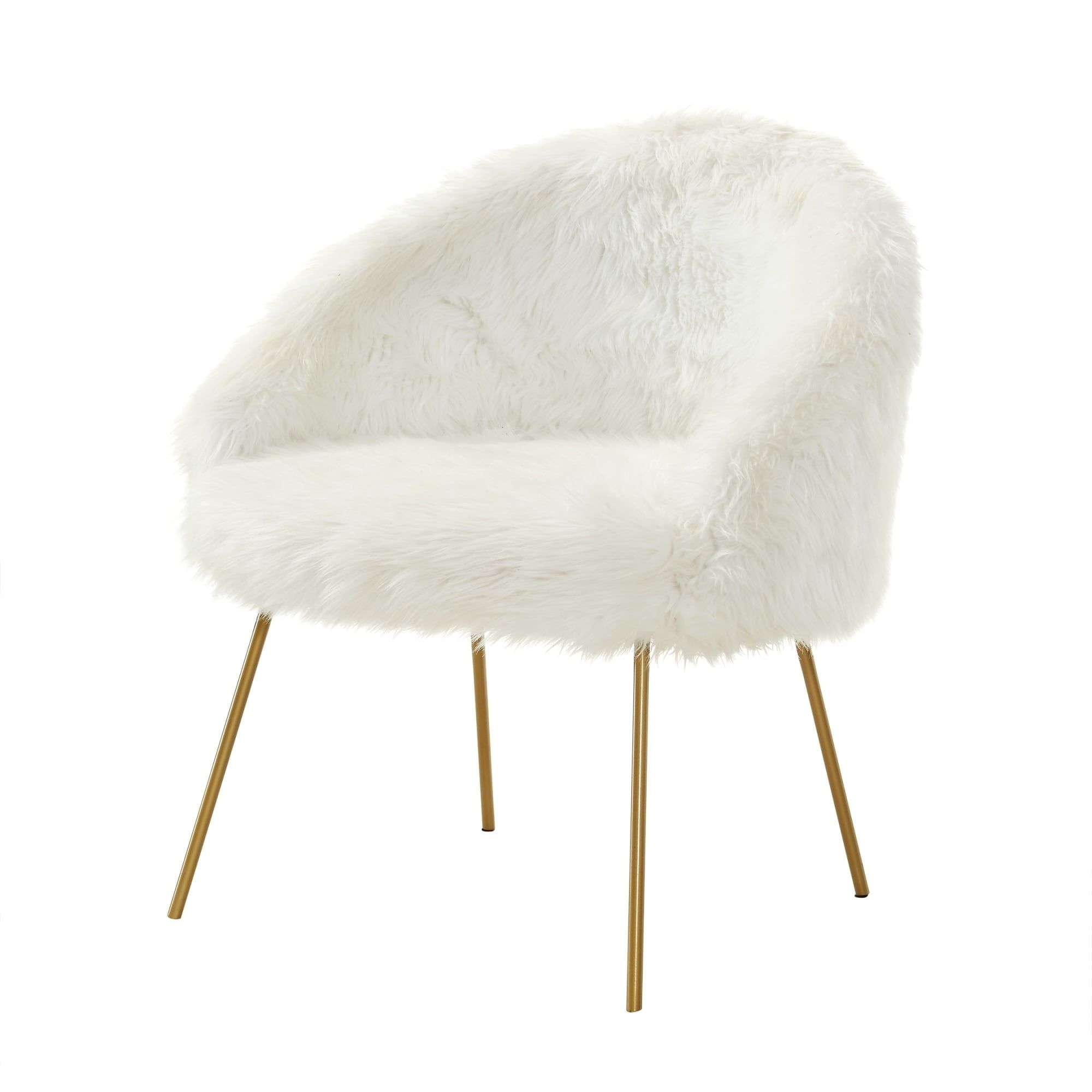 Furry Chairs Inspired Home Belle White Faux Fur Goldtone Accent Chair