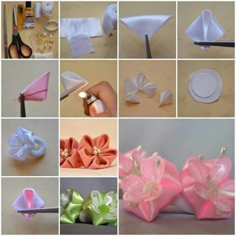 Lazo Para El Cabello De Bebe Colitas De Niña Fabric Flowers Diy Fabric Flower Tutorial Fabric Flowers